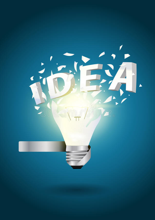 展开电灯泡想法字母表概念 皇族释放例证