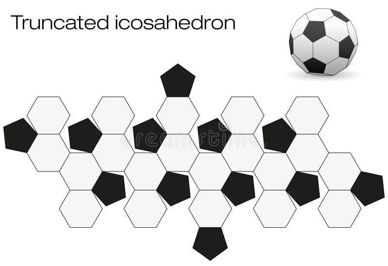 展开的足球被削的二十面体 皇族释放例证