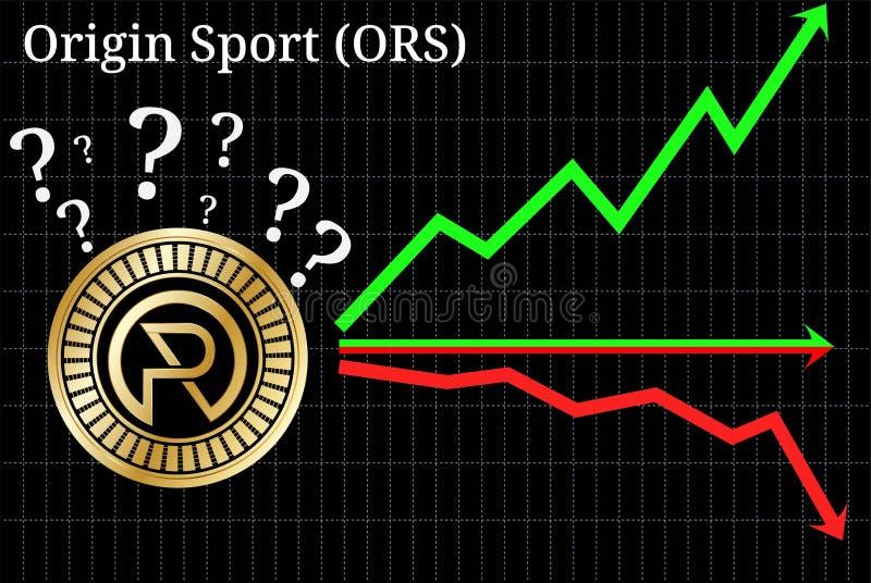 展望的起源体育ORS cryptocurrency可能的图表-,下来或者水平地 图表 皇族释放例证