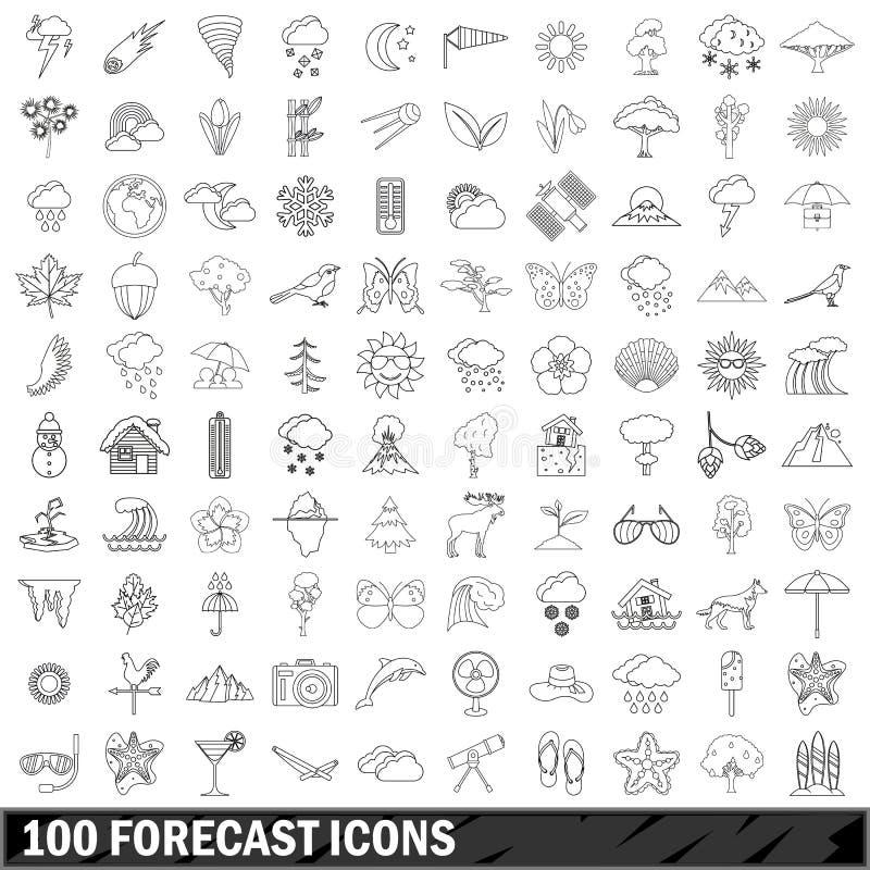 100展望被设置的象,概述样式 库存例证