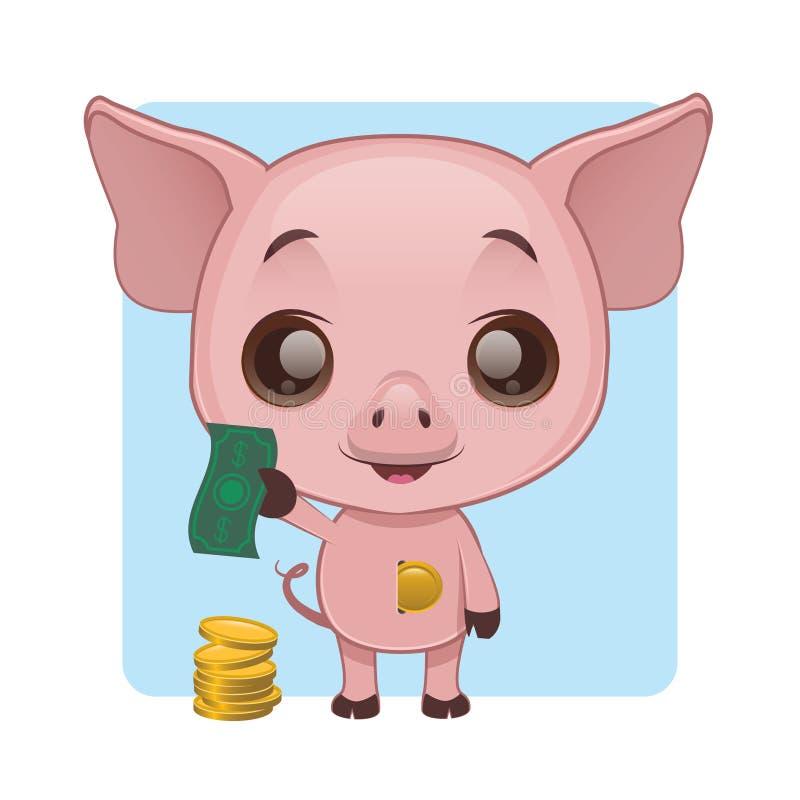 展示如何的逗人喜爱的猪存金钱在存钱罐中 皇族释放例证