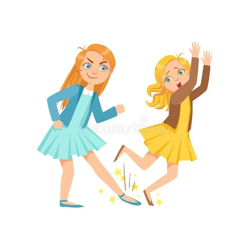 展示恶作剧无法控制的欠债行为动画片的女孩跳开的更小的孩子少年恶霸 皇族释放例证