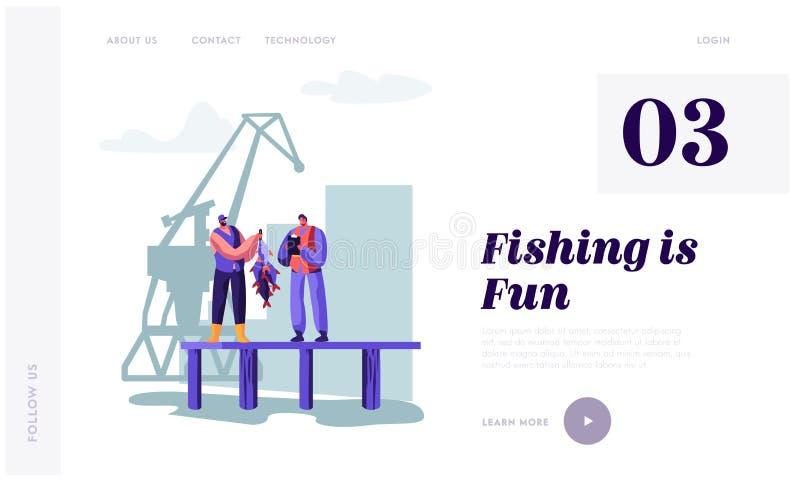 展示鱼的渔夫拖拉给码头的顾客 买家观看的渔场抓住在写笔记的船坞 渔场产业 库存例证