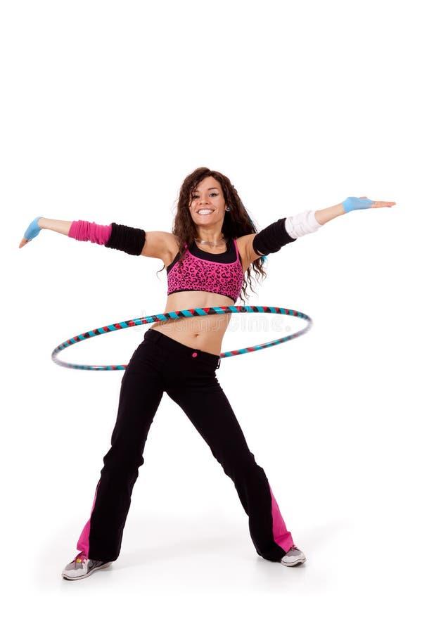 展示hooping的健身教师 免版税图库摄影