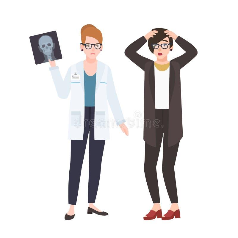 展示X-射线的恼怒的女性医生或外科医生给在白色背景隔绝的害怕的患者 医师显露 向量例证
