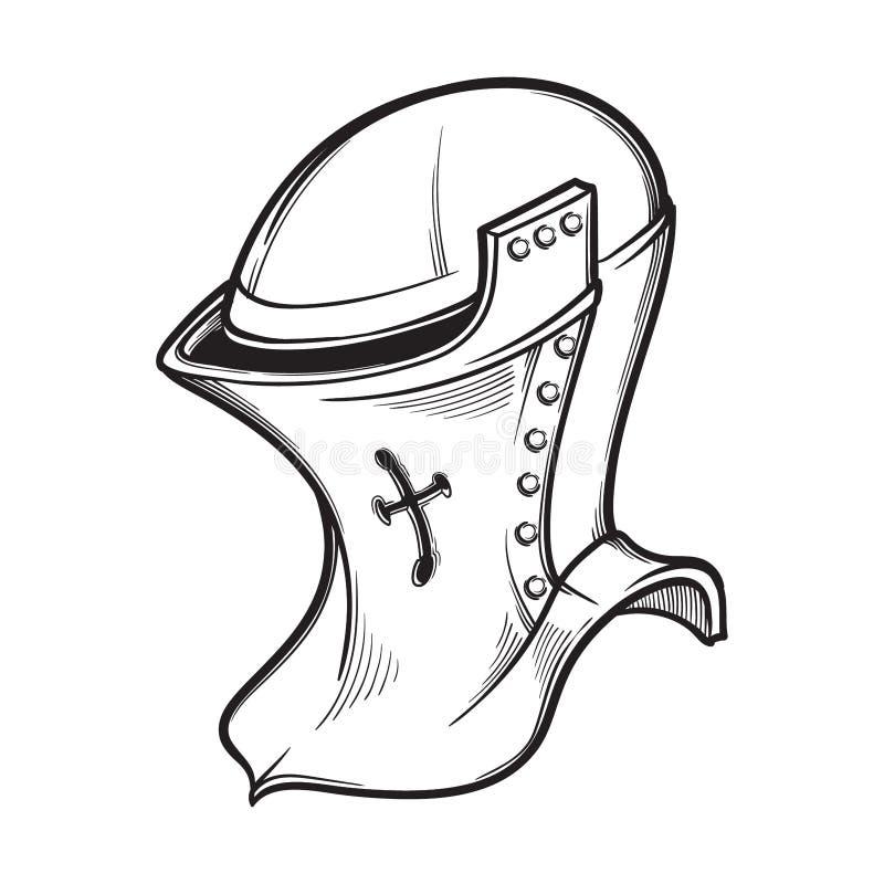 属于heaume类型的中世纪欧洲盔甲 侧视图 纹章元素 染黑被隔绝的nd白色图画  库存例证