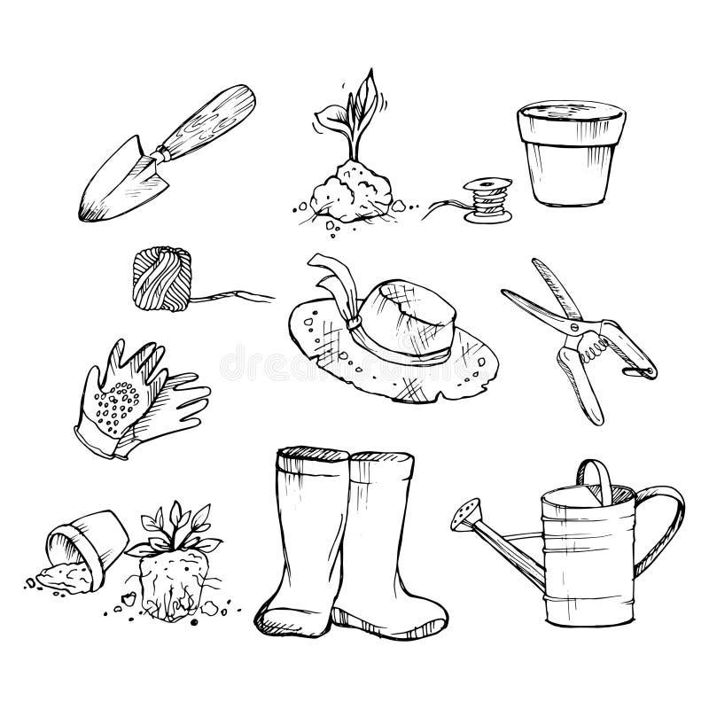 属性花匠 庭院,幼木罐,喷壶,帽子,小铲,手套,园艺剪刀 库存例证