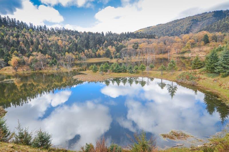属都海风景秋天季节的在普达措国家公园 库存照片