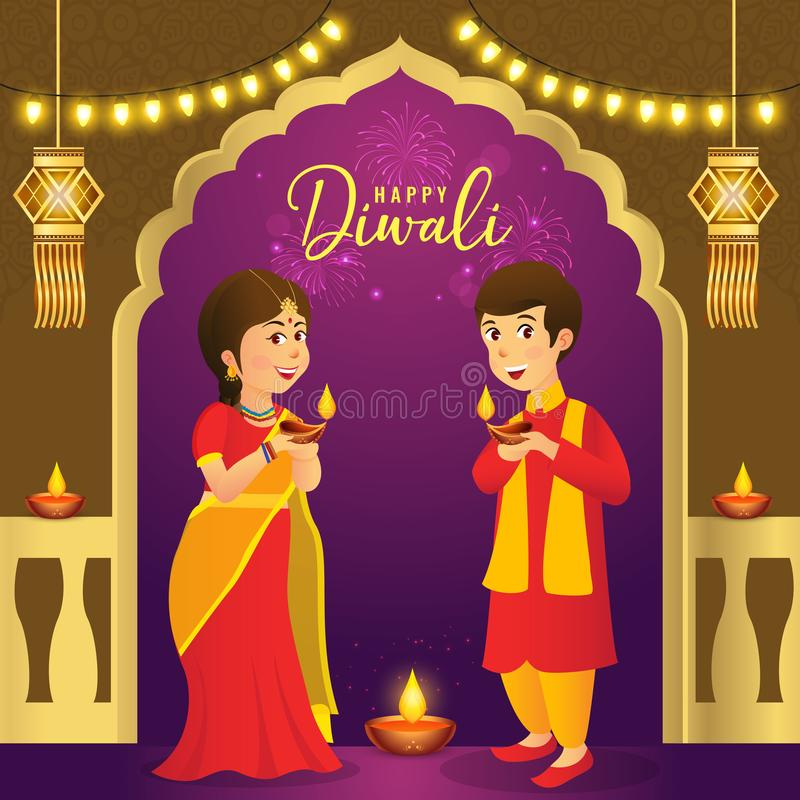 屠妖节与动画片印度孩子的贺卡 向量例证