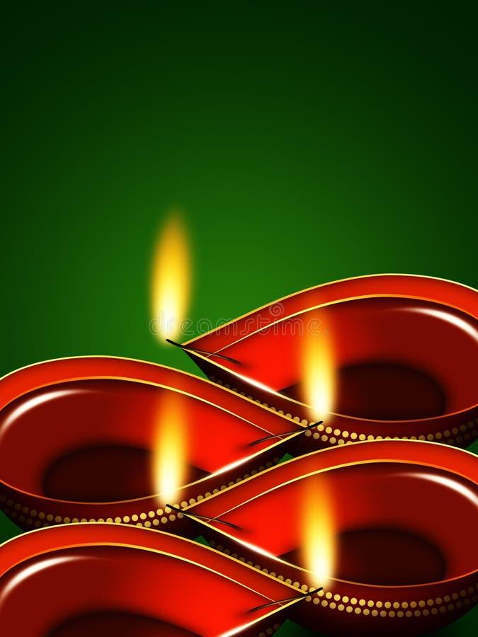 屠妖节在绿色背景的油灯 向量例证