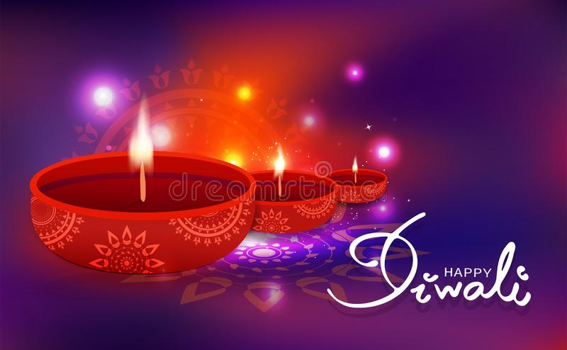 屠妖节庆祝,与花卉坛场印度宗教,轻的发光的欢乐迷离背景传染媒介的油灯装饰 库存例证