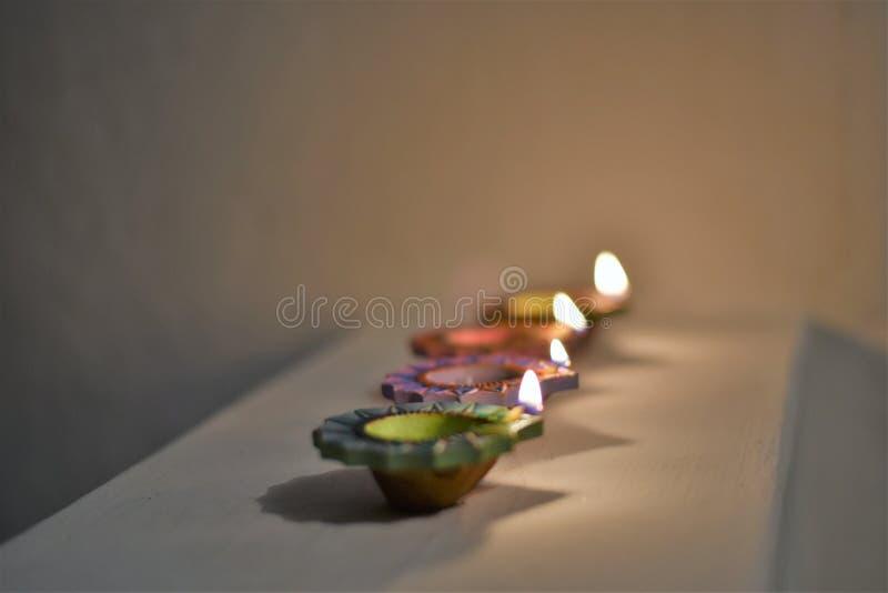 屠妖节节日照明设备和装饰,印度 免版税库存照片