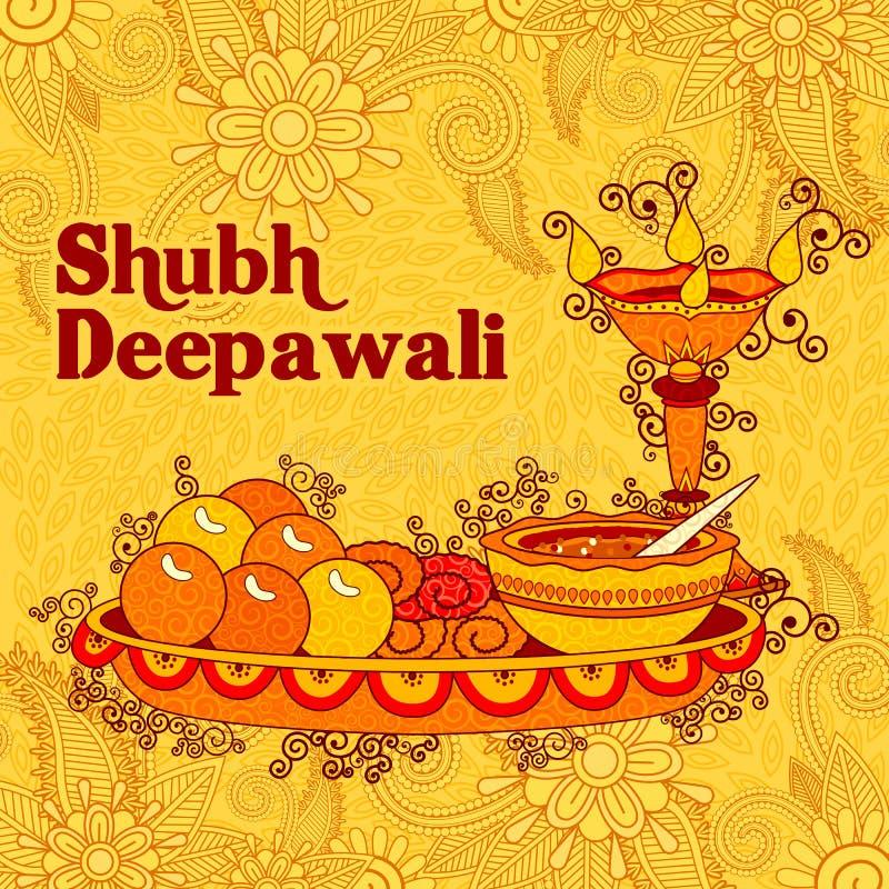 屠妖节装饰了印度的轻的节日的puja thali 库存例证