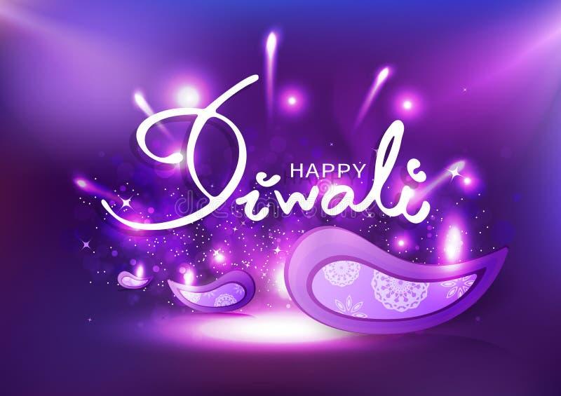 屠妖节,光庆祝节日、紫色Bokeh、发光的烟花爆炸、坛场和印度创造性的抽象背景传染媒介 向量例证