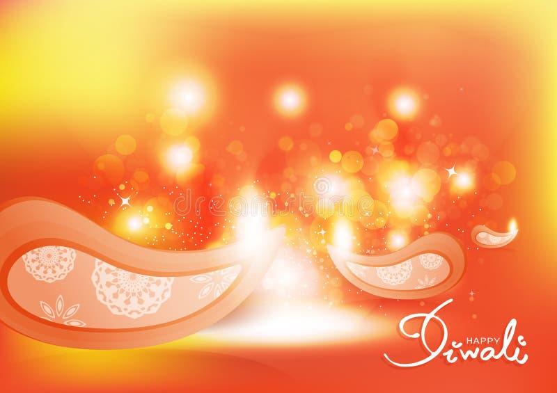 屠妖节,轻的庆祝节日,firecandle Bokeh,发光的模糊的火焰概念,印度抽象背景传染媒介例证 向量例证