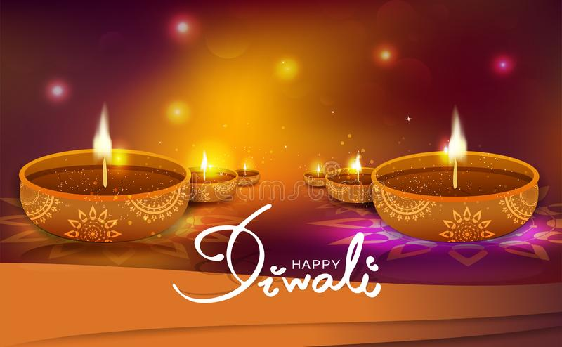 屠妖节,金子轻的方式闪闪发光发光的节日庆祝,油蜡烛灯装饰,印度和回教,透视背景 皇族释放例证