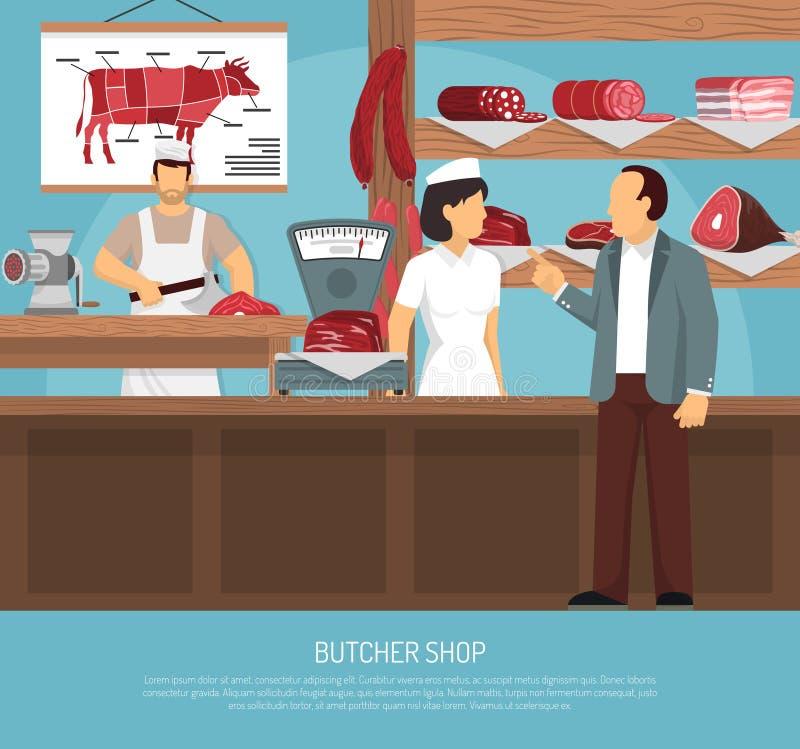 屠宰肉商店平的海报 向量例证