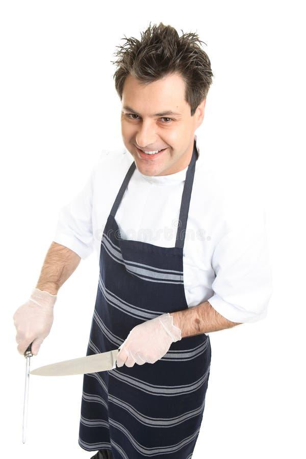 屠户主厨微笑 免版税图库摄影