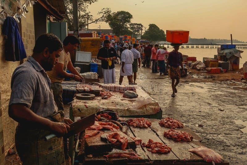 屠户在一个鱼市上的切肉在塔拉斯塞尔伊,喀拉拉印度 免版税库存图片
