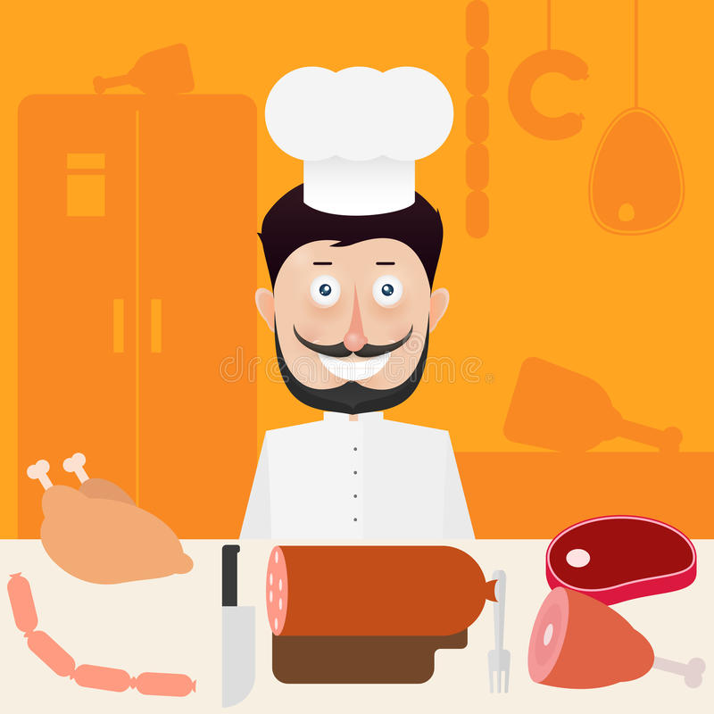 屠户在准备膳食的厨房里在肉桌上  皇族释放例证