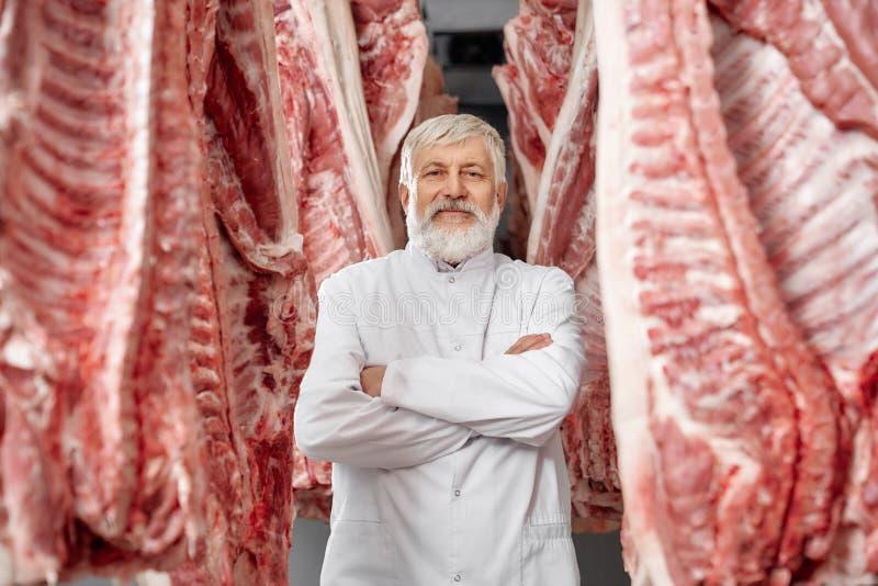 屠户摆在,站立在猪肉尸体之间行  库存图片