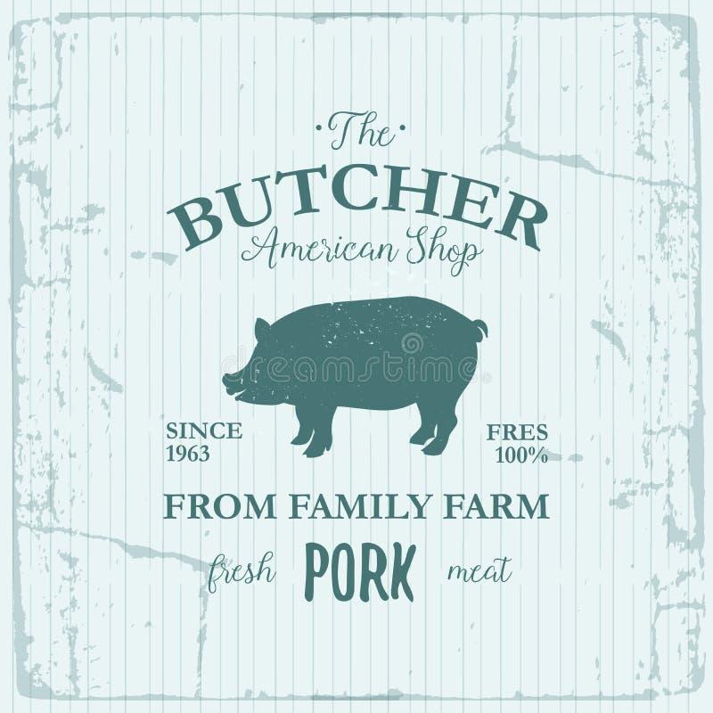 屠户美国商店标签设计用猪肉 牲口葡萄酒商标织地不很细模板 向量例证