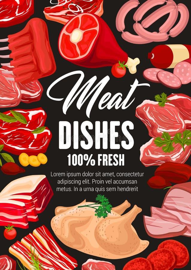 屠杀肉牛肉和猪肉,肉店工作香肠 向量例证