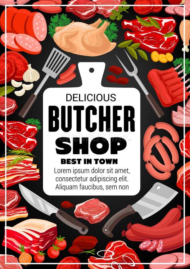 屠杀肉牛肉,肉店工作食家香肠 库存例证