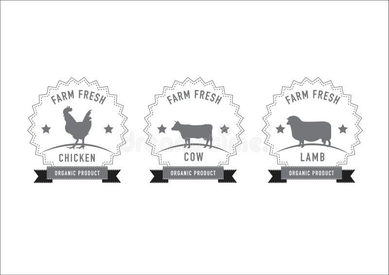 屠杀肉盖印和标签 向量例证