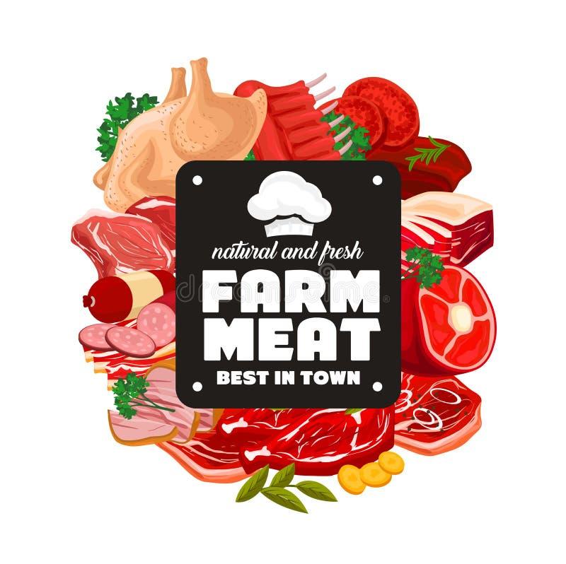 屠杀肉食物,肉店工作熟食 向量例证