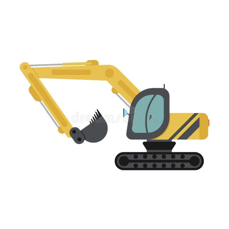 履带牵引装置挖掘机平的象 库存例证