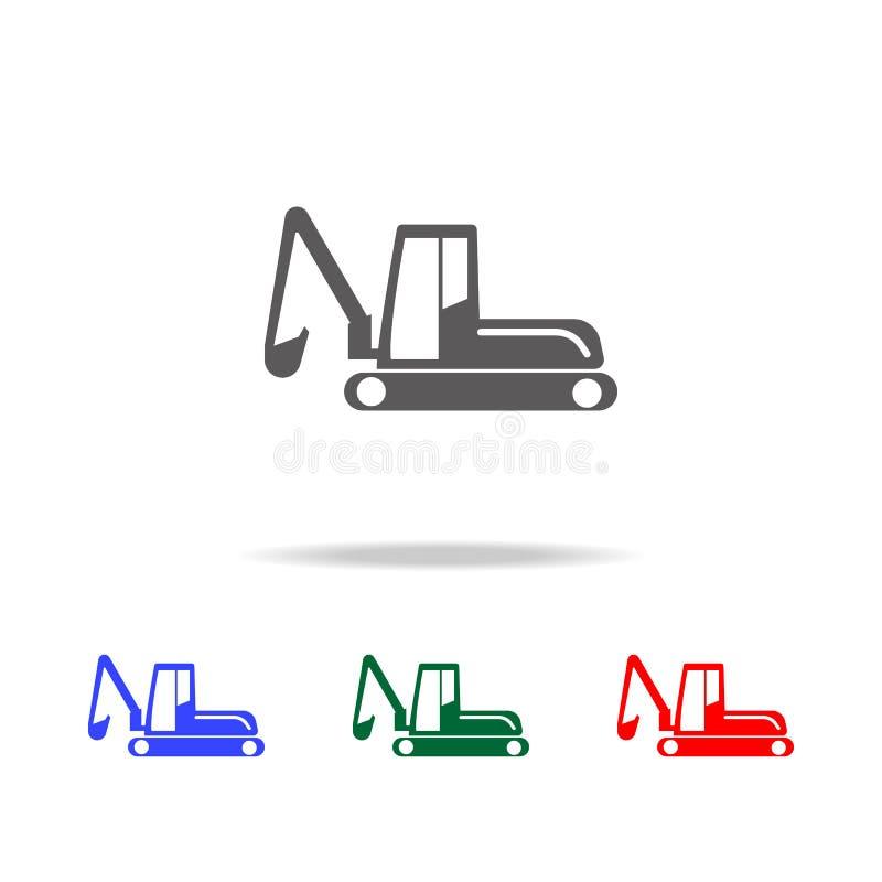 履带牵引装置挖掘机象 建筑的元素用工具加工多色的象 优质质量图形设计象 w的简单的象 库存例证