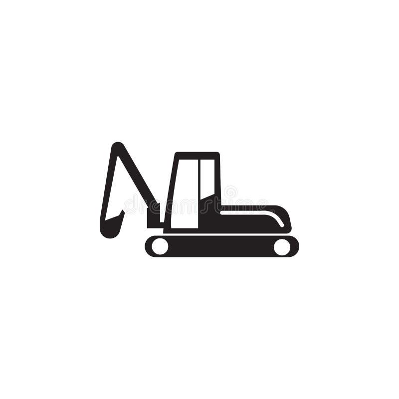 履带牵引装置挖掘机象 建筑的元素用工具加工象 优质质量图形设计 标志,概述标志汇集ico 皇族释放例证