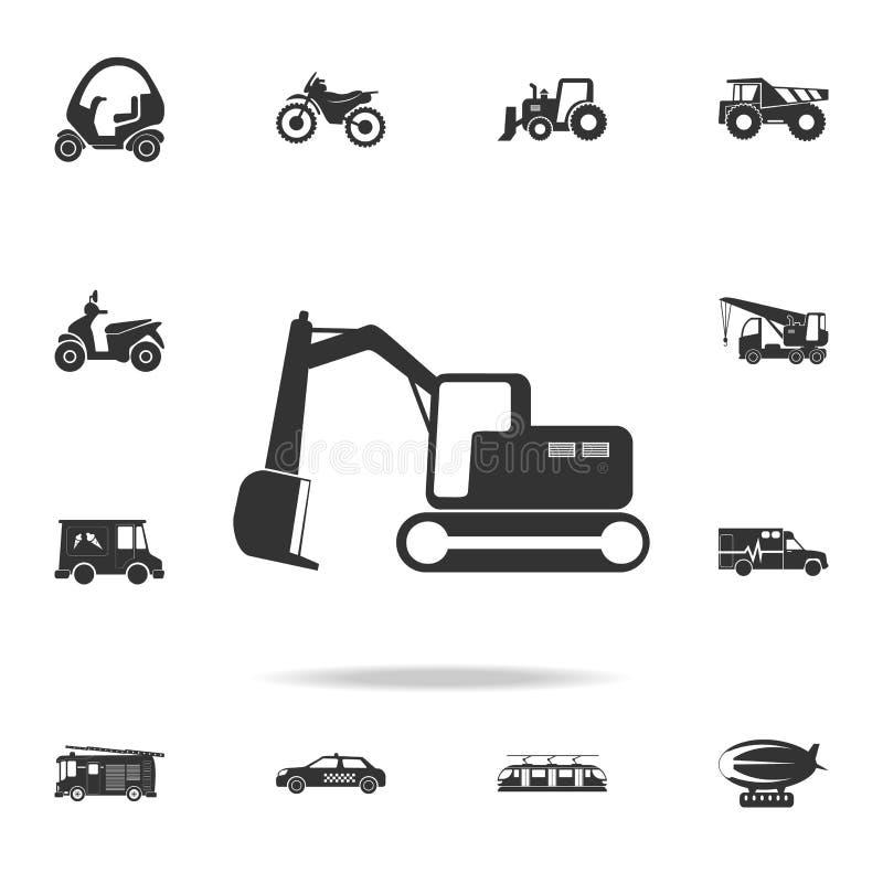 履带牵引装置挖掘机象 详细的套运输象 优质质量图形设计 其中一个网站的汇集象, 库存例证