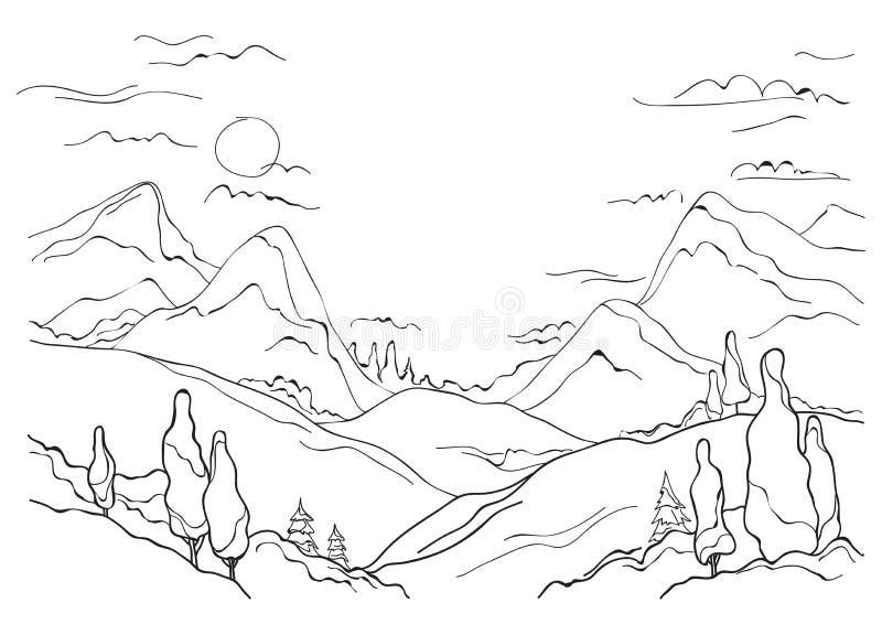 山峰,小山,谷和树简单的传染媒介图片