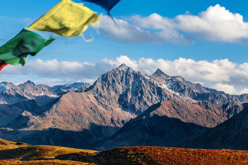 山上面在Tyrolian阿尔卑斯 库存图片
