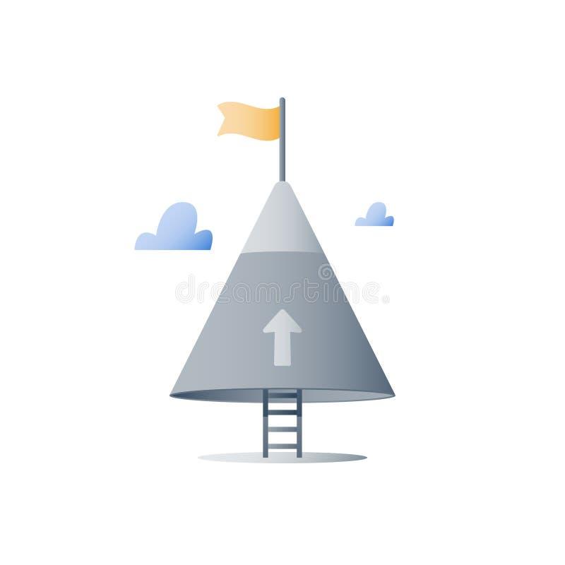 山上面,从未给概念,伸手可及的距离更高的目标,下个水平,对成功,成长心态,克服的障碍的方式 皇族释放例证