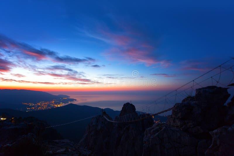 从山上面Ai陪替氏的日出 免版税库存图片