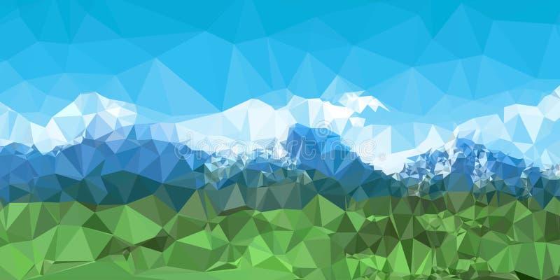 山与低多设计的风景背景 库存例证