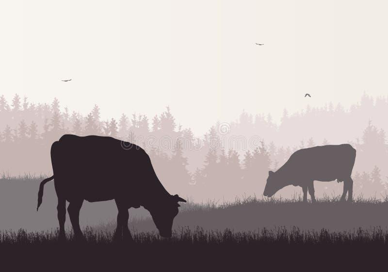 山与森林,牧场地和吃草母牛的农厂风景的现实例证在与飞鸟的减速火箭的颜色天空下, 向量例证