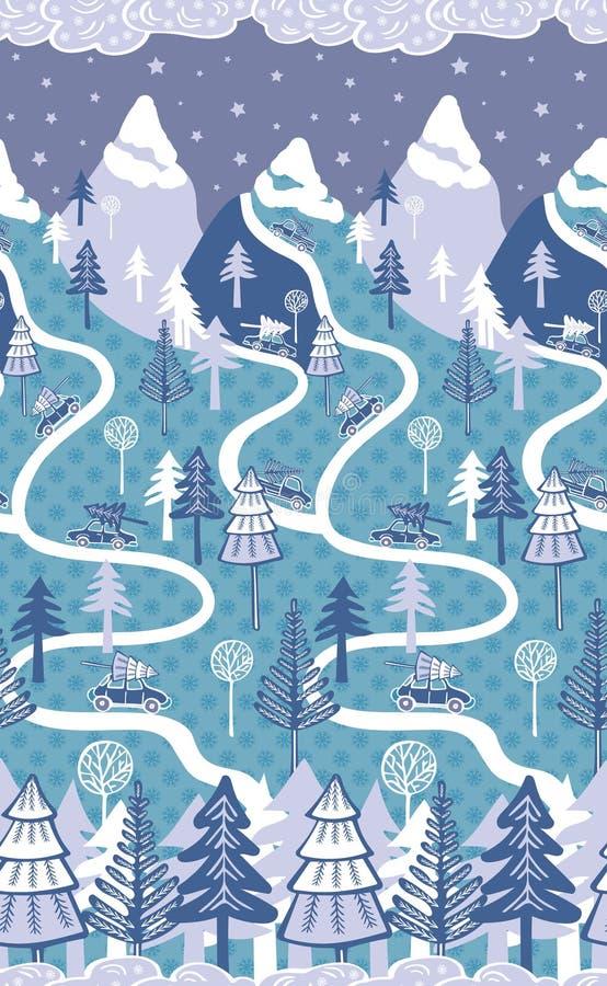 山与汽车,在雪的杉木的冬天风景 冬天、新年和圣诞节题材的无缝的样式 皇族释放例证