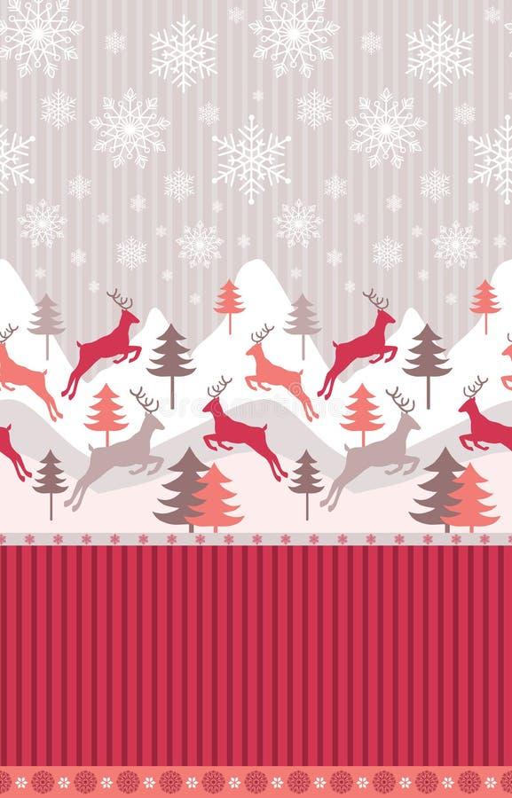 山与驯鹿,在雪的杉木的冬天风景 冬天、新年和圣诞节题材的无缝的样式 向量例证
