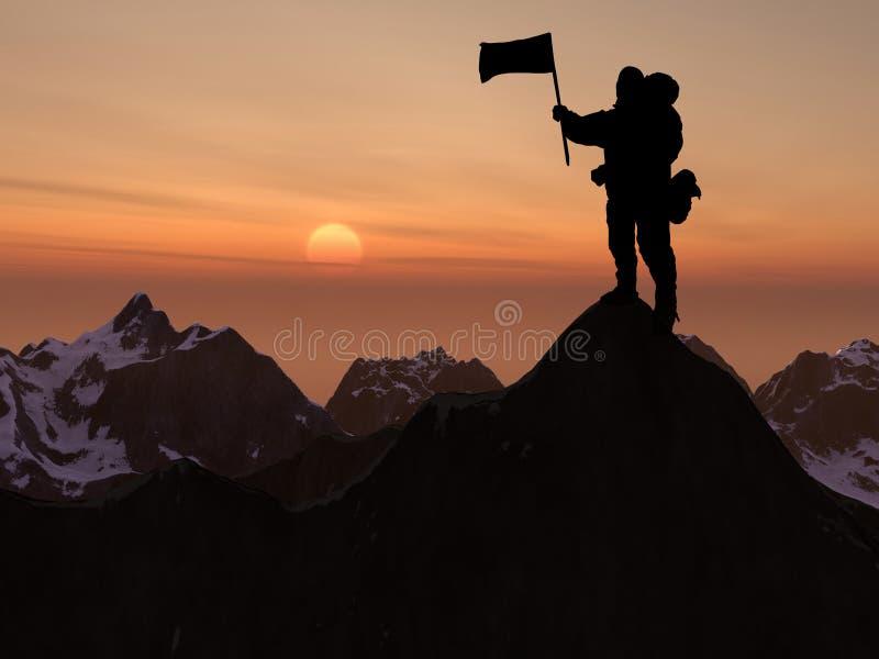 登山人剪影和山 免版税库存照片