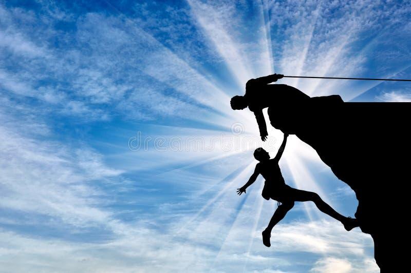 登山人在山天帮助给帮手的朋友 向量例证