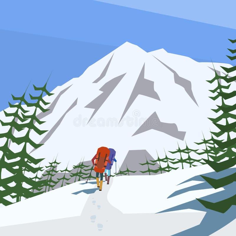 登山人攀登山传染媒介背景 皇族释放例证