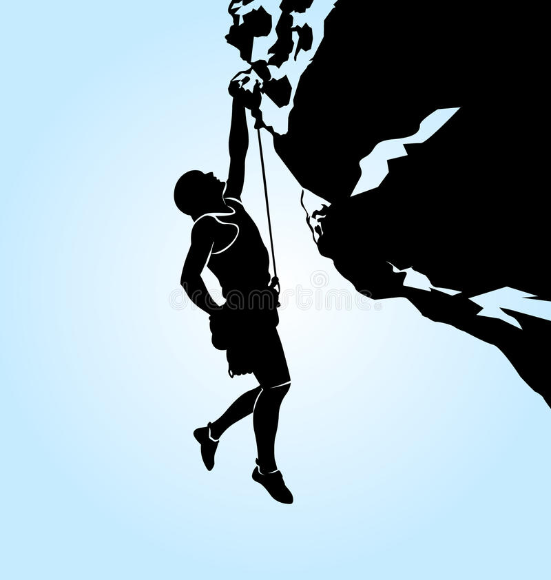 登山人的传染媒介剪影 库存例证