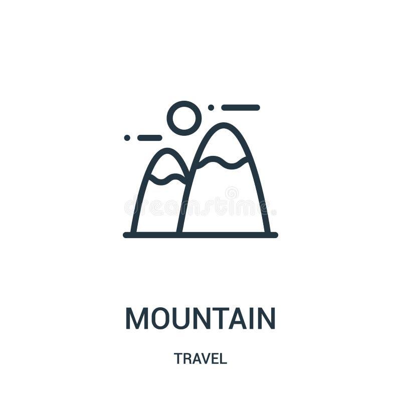 山从旅行汇集的象传染媒介 稀薄的线山概述象传染媒介例证 线性标志为在网的使用和 皇族释放例证