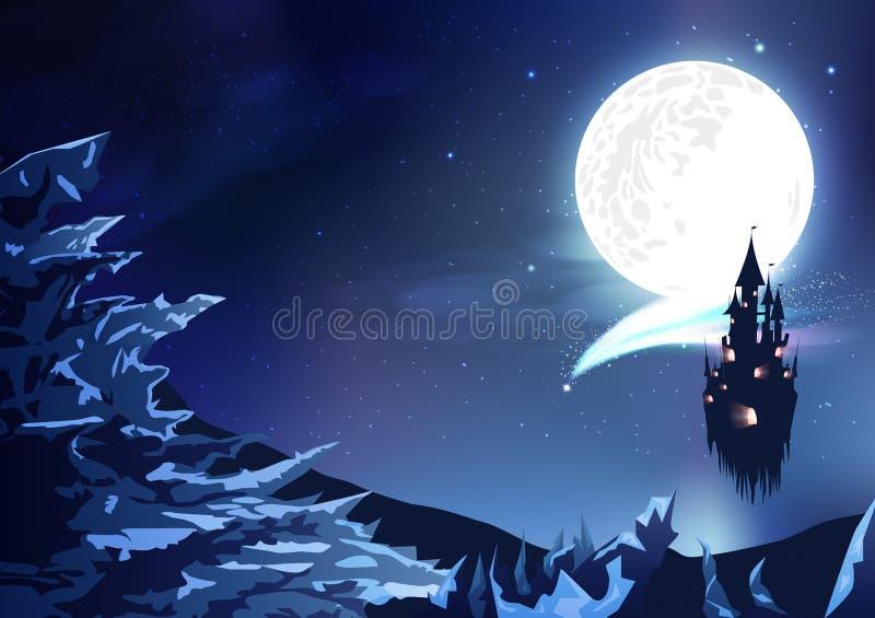 山使夜空星系幻想摘要背景,有彗星不可思议的多云天空场面的冰全景环境美化与满月, 库存例证