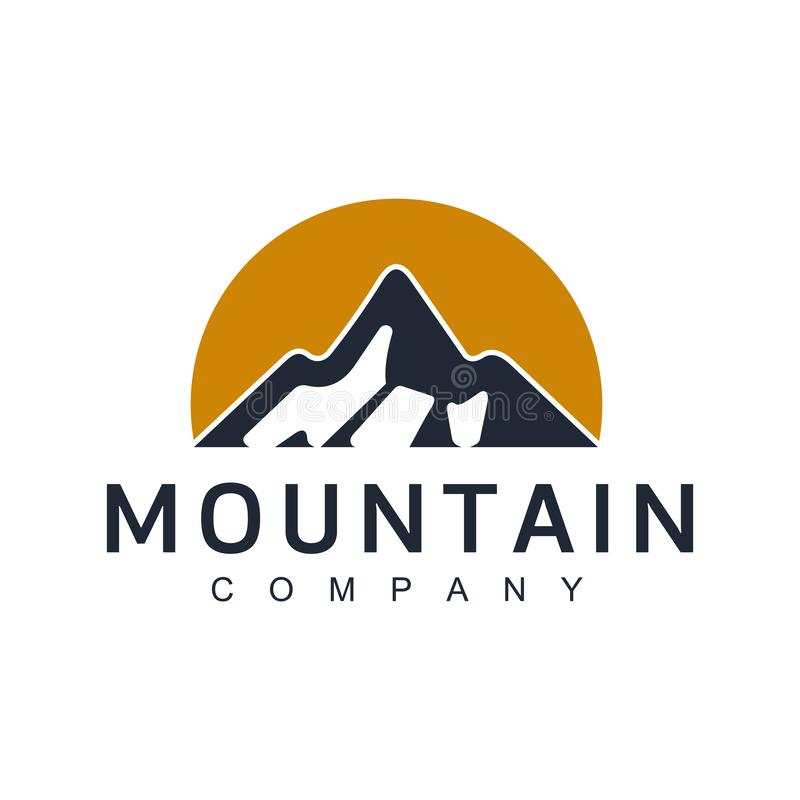 山例证,室外冒险 向量图形为T恤杉和其他使用 与山峰的葡萄酒风景结束gr 库存例证