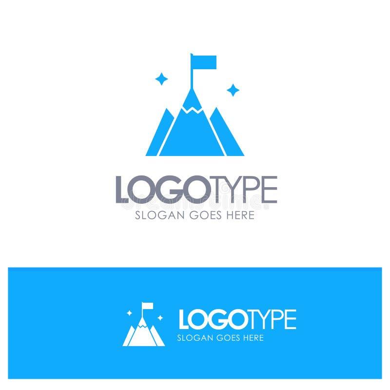 山区、标志、用户、界面蓝色实体徽标,带标记线位置 皇族释放例证